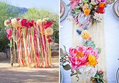 Beautiful floral pompoms  streamers for a fab outdoor backdrop! #rentmyphotobooth Photo via #WedOverHeels