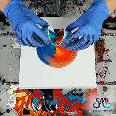 Paint Kiss Acrylic Pour - Fluid Art Tutorial – Paint Kiss Acrylic Pouring by Olga Soby from Smart Art Materials - Acrylic Pouring Art, Acrylic Art, Art Basics, Smart Art, Diy Canvas Art, Pour Painting, Drawing Challenge, Art Studios, Painting Techniques