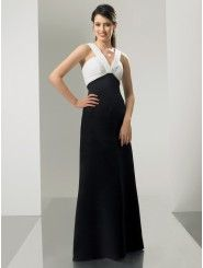 Chiffon and Satin V-Neckline Floor-Length A-line Bridesmaid Dress