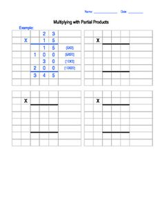 This is a template to use for Partial Product Multiplication. You can type in whatever numbers you want to use- product is editable. Print it out and write in your own multiplication problems! Multiplication Problems, Multiplication And Division, Teaching Math, Teaching Ideas, Partial Product Multiplication, Math Strategies, 5th Grade Math, 5th Grades, Classroom