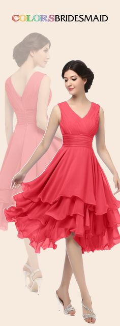 This short chiffon coral bridesmaid dress with tiered ruffles skirt is sold under 100. Custom made to all sizes. Buy  inexpensive bridesmaid dress at colorsbridesmaid.com to attend a spring or summer wedding.