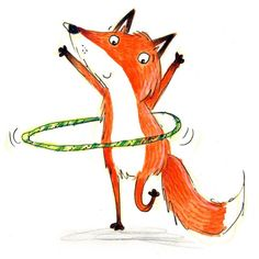 Happy Friday, here's a hula hooping fox! Fuchs Illustration, Cute Illustration, Fox Drawing, Funny Paintings, Fox Tattoo, Fox Art, Woodland Creatures, Red Fox, Pet Birds