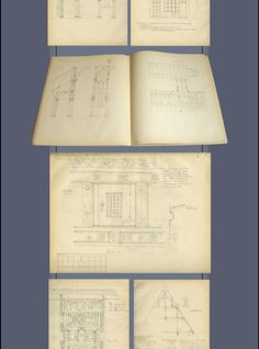 ALBUM ORIGINAL DRAWINGS of Romanesque Gothic RenaissanceCollection of original drawings of architecture made from real, with comments and measures. German language.The early '900. Probable author Hans Schmidt Karlsruhe. Size 29x24 cm, 43 sheets with some whites. -