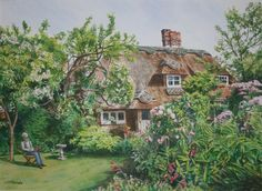 Thatched cottage, Amberley, West Sussex - watercolour