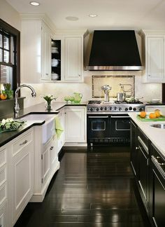 black and white kitchens with wood floors - Google Search