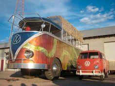 Walter the World's Largest VW Split Screen Van alongside a regular VW Split Screen Van