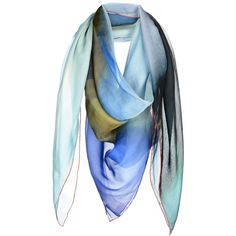 Agnese Gallamini Square Scarf (480 MYR) ❤ liked on Polyvore featuring accessories, scarves, sky blue, chiffon shawl, square scarves, square shawl, patterned scarves and print scarves