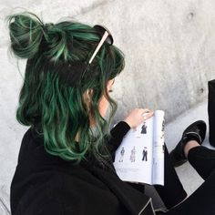 Dark green dyed hair grunge style