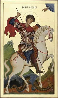 St George on Horseback Religious Images, Religious Icons, Religious Art, Byzantine Icons, Byzantine Art, Saint George And The Dragon, Art History, Black History Facts, Religious Paintings