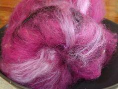 Plum Grove spinning batt with shetland, mohair, leister locks, llama, silk and sparkle, 2 oz by msfledermaus on Etsy