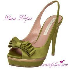 79b0cf29 Zapatos de fiesta en color verde con palataforma, tacón alto y elegante  lazo Zapatos Verdes