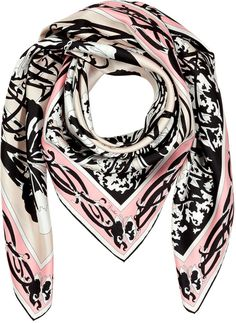 Emilio Pucci Black/Nude-Multi Printed Silk Scarf by Emilio Pucci