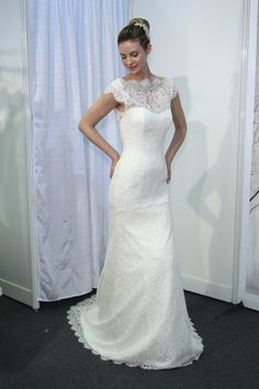 We're loving the delicate lace on this Jane Wang Wedding Dress, Spring 2014