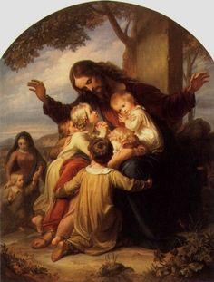 paintings of children | Jesus and the Little Children, Vogel von Vogelstein