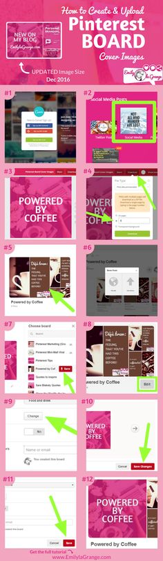 How to Create + Upload Pinterest Board Cover Images Updated December 2016  Visit my blog for the full step by step tutorial,  Ideal image size etc.