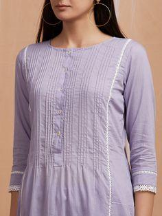 Lavender Cotton Kurta Simple Kurti Designs, Kurta Designs Women, Salwar Designs, Fancy Kurti, Kurta Patterns, Kurti Embroidery Design, Kurta Neck Design, Dress Neck Designs, Pakistani Dress Design