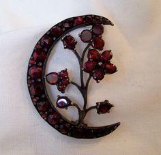 Victorian silver Bohemian garnet pin honeymoon crescent flower from ...1024 x 987 | 146 KB | www.rubylane.com