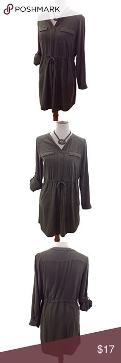 Paper Crane Olive Green Dress w/Drawstring Waist Olive green Paper Crane dress with drawstring waist. Can be worn as 3/4 sleeve or long sleeves. See pic 7 for measurements. Measurements are approximate with garment laying flat. Paper Crane Dresses Midi