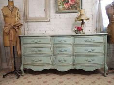 love it...taking an old dresser and repainting it to this gorgeous color.
