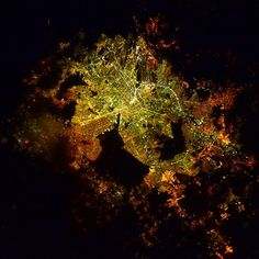 """""""The colors are like a leaf in the fall. #MexicoCity"""" #AstroButch  Photo Credit Barry Wilmore: 131B0292  #nasa #nasajsc #spacestation #internationalspacestation #explore #exploration #photography #ISS #Exp42 #cupola #geography #EarthArt #lights #night #Mexico #city #fall #metaphor #colors #space #environment #Earth"""