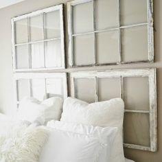 Salvaged Windows Headboard  http://buyersagent.com/blog/best-diy-headboard-ideas-for-your-home/