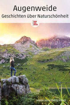 """Die Natur mit allen Sinnen genießen – das können Sie bei Wanderungen zu besonderen Plätzen in den Bergen oder am Bodensee, bei unvergesslichen Landschaftserlebnissen und Open-Air-Kulturprojekten. In spannenden Reportagen erzählt das Vorarlberg Magazin """"Augenweide"""" vom Thema Naturgenuss. #visitvorarlberg #myvorarlberg #storytelling #naturelover #naturephotography #natur #naturliebe Open Air, Bergen, Mountains, Nature, Travel, Travel Advice, Landscape, Viajes, Naturaleza"""