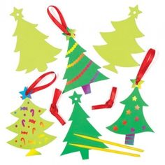 Christmas Tree Scratch Art  Deck the hall with colourful trees! Simply scratch a design onto the specially coated surface to reveal rainbow colours. Each decoration comes with a scratch tool and ribbon for hanging. 4 assorted. Size 12cm.