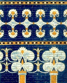 Glazed brick decorations in the throne room of the palace of Nebuchadnezzar in Babylon