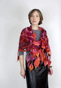 This hand crafted scarf would be fun to wear on  a summer lunch date. It is sold, though.  Love  her scarves!