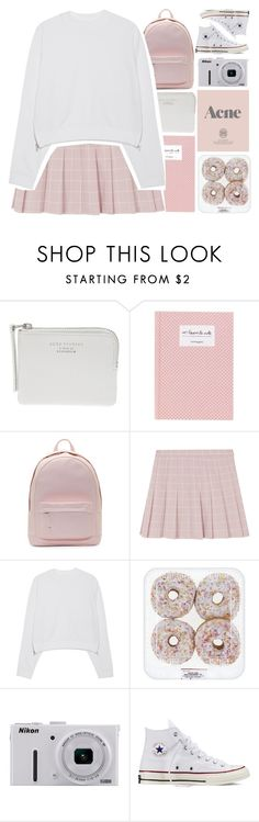 """The Suburbs // Arcade Fire"" by galactictraveler ❤ liked on Polyvore featuring Acne Studios, PB 0110, Nikon, Prada, Converse, Pink, fashionset and pinkandwhite"
