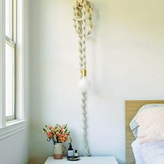 Hanging Light Bulbs, Rope Lamp, Cord Cover, Modern Family, Cool Diy, Modern Bedroom, First Photo, Fiber Art, Two By Two