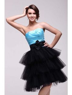 Short Strapless Blue and Black Homecoming Dress