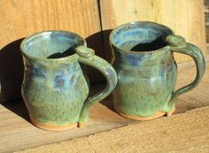 Pottery Mug  Blue Green Mix on Tan Clay by CartersStainedGlass, $15.95