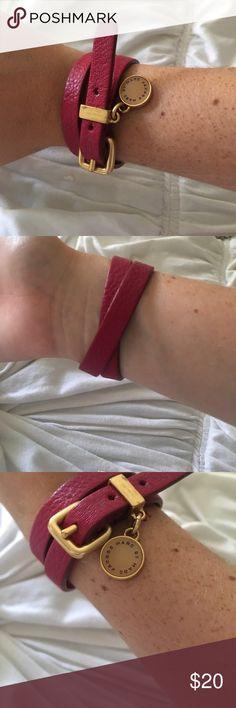 MARC JACOBS leather buckle wrap bracelet! Pink Marc Jacobs leather wrap around gold buckle bracelet Marc By Marc Jacobs Jewelry Bracelets