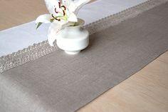 Christmas Table Runner Natural Undyed Linen by LinenLifeIdeas