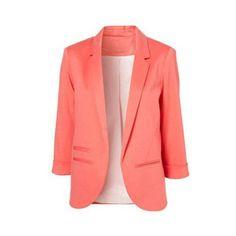 SheIn(sheinside) Pink Boyfriend Ponte Rolled Sleeves Blazer ($25) ❤ liked on Polyvore featuring outerwear, jackets, blazers, sheinside, blazer, tops, pink, pink boyfriend blazer, red boyfriend jacket and pink jacket