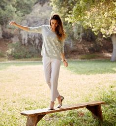 Butterfly garden pullover and the live-in chino ankle pants.