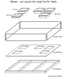 Indoor Land Turtle Table - Exploded View