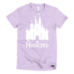"Walt Disney World is your life, everything else is just time you spend in between vacations. Show everyone how crazy you are about Walt Disney World with our Disney ""Addicted"" T-Shirt.  All of our shirts are 100% fine jersey cotton, except for the heather grey color (90% cotton, 10% polyester). This women's t-shirt is made form-fitting to flatter a woman's curves.   Fine jersey   Form-fitting   Double stitched   Made in the USA"