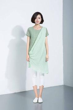 Mini dress green linen dress women's causal linen dress