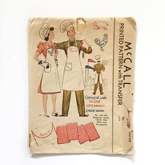 ✂️Vintage 1930s McCall Printed Pattern #1040 Mr. and Mrs. Barbecue Apron, Chefs hat, mitts and accessories sewing pattern with French and Spanish instruction translations  ✂️Includes pattern pieces for apron, chef hat, banner and case  ✂️Pattern is missing the oven mitt pieces and only has the Come and Get it transfer ~ instruction sheet and envelope are both very fragile and show storage wear and tear  **This will be shipped boxed due to the fragility of the pieces**  ************  All my…
