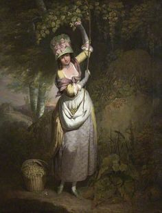 """Pretty bonnet and quilted petticoat. """"A Girl Gathering Filberts"""" William Redmore Bigg, Plymouth City Council Museum and Art Gallery 18th Century Clothing, 18th Century Fashion, 18th Century Costume, Art Uk, Portraits, Historical Clothing, Historical Dress, Fashion Plates, Your Paintings"""
