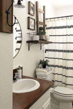 Looking for for inspiration for farmhouse bathroom? Check out the post right here for unique farmhouse bathroom pictures. This particular farmhouse bathroom ideas will look wonderful. Diy Bathroom Decor, Bathroom Styling, Bathroom Organization, Bathroom Shower Curtains, Bathroom Theme Ideas, Budget Bathroom, Bathroom Storage, Bathroom Inspiration, Bathroom Mirrors