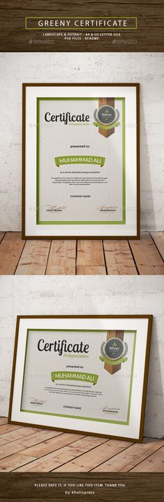 free certificate template powerpoint   Google Search   american     Buy Greeny Certificate by Kholistudio on GraphicRiver  Greeny Certificate  Greeny Certificate Template specially design for green life purpose