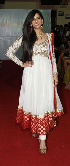 White and Red Anarkali Dress