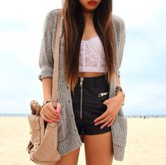 #HTW #OOTD #outfit #fashion #style #sweater #croptop #top #lace #hotpants #shorts #handbag #bag #bracelet