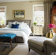 The Gorgeous Home of Dave DeMattei and Patrick Wade Bedroom Love that bright pop of blue.
