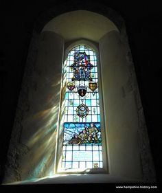 Stainglass memorial window Portsmouth Cathedral to Admiral Ramsay who commandered the seaborne forces at Dunkirk 1940 and Normandy 1944.