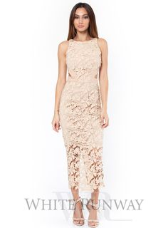 Phantasy Lace Cutout Dress. A stunning dress by White Velvet. An above ankle fitted dress with cut outs at the waist and an above knee length lining. #whiterunway