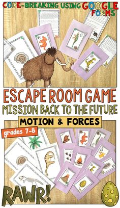 Students find themselves transported by a time machine to the beginning of the Mesozoic and they must answer questions and follow clues about motion and forces to get back to the future! Try this escape game as an engaging review!